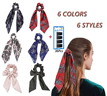 43a6e46c6151 Greffor 6Pcs Hair Scrunchies Scarf Silk Hair Bow Scrunchies Long with 5 cm  Bobby Pins Black