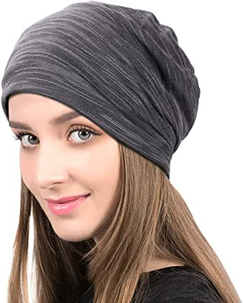 EMITIG Fashion Soft Cotton Beanie Hat Sleep Cap for Women and Men Headwraps Fashion Slouchy Knit Beanie Sleeping Cap