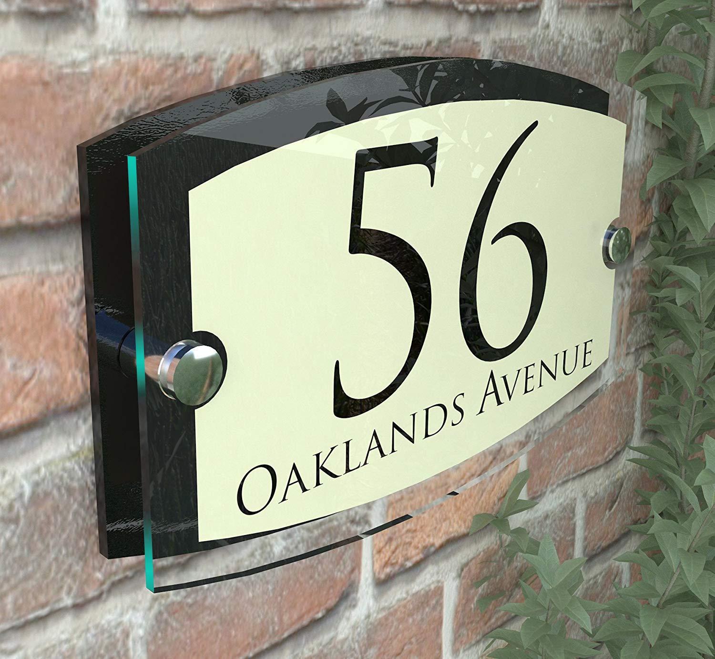 MODERN HOUSE SIGN PLAQUE DOOR NUMBER STREET GLASS EFFECT ACRYLIC ALUMINIUM NAME Esteem Vintage Pearl K Smart Sign Ltd