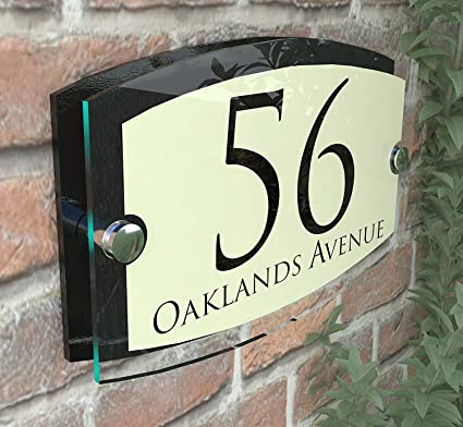 MODERN HOUSE SIGN PLAQUE DOOR NUMBER STREET GLASS EFFECT ACRYLIC