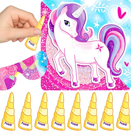 German Trendseller 1 Juego Para Fiestas Unicornio Pin The Horn