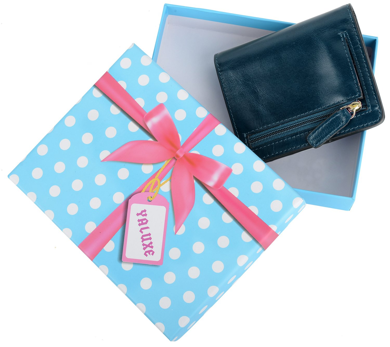 YALUXE Women's Mini Small Leather Pocket Wallet with ID Window Blue by YALUXE (Image #7)