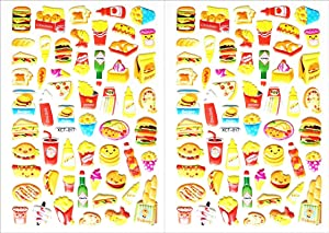 Stickers 2 Sheets Snack Food Hamburger Popcorn French Fries Pizza Food Drinks Stickers Removable for School Children Teacher Reward DIY Scrapbooking Diary Photo Album Card Gift