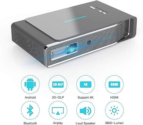 LED Proyector, 3800 Lumens 1280x800 3D DLP-Link HDMI ...