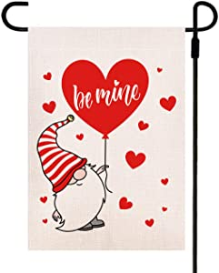Doncida Be Mine Valentine Garden Flag Double Sided Hand Drawn Cute Gnome with Red Heart Balloon, Burlap Yard Flag 12.5 x 18 Inch Holiday Anniversary Wedding Outdoor Decoration