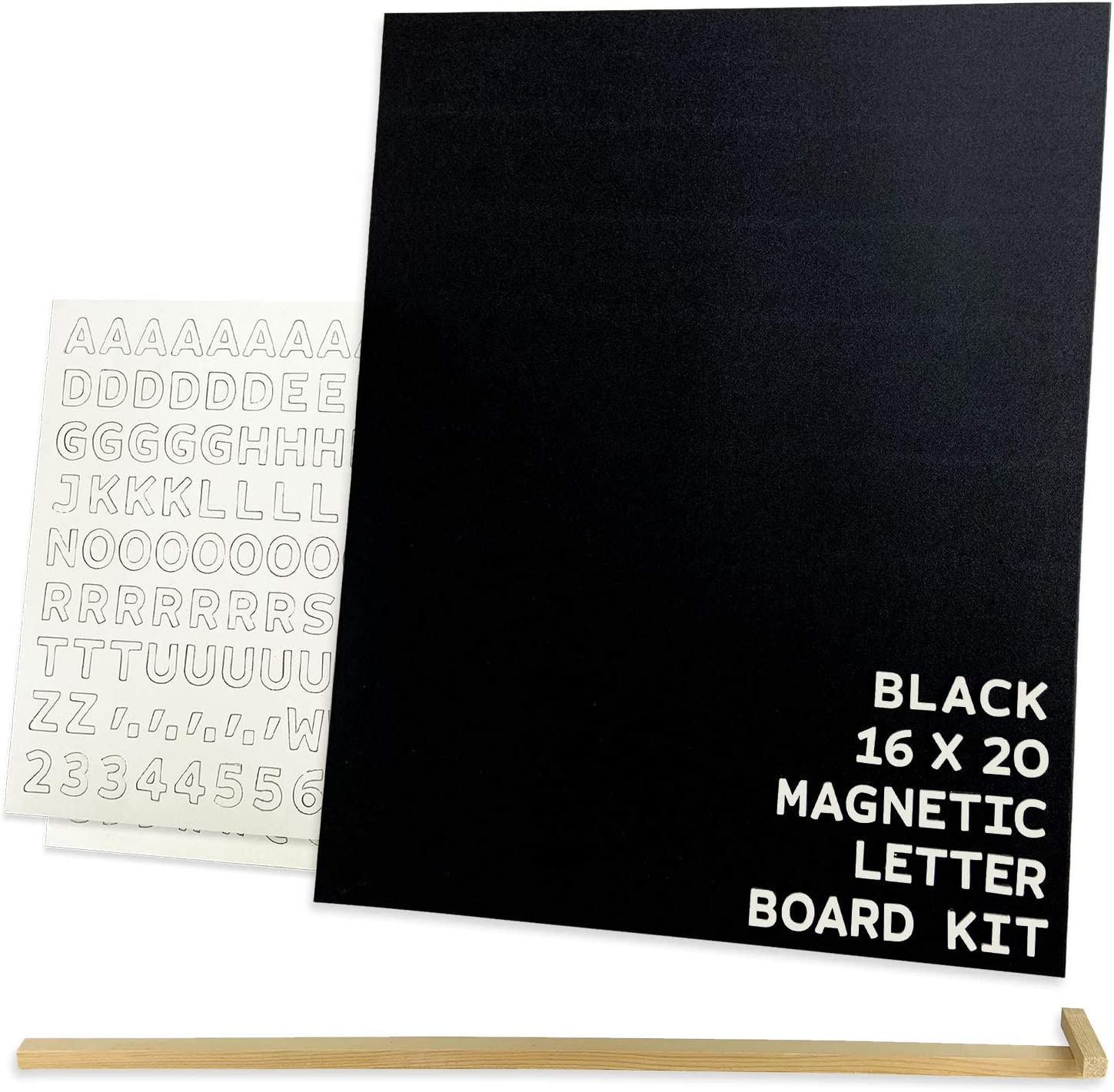 JUT MADE Letter Boards - Magnetic Messages Made to Stick Out - Changeable Letter Board - Rich Wood Finish - Distinctive Room Decor - Desk Accessories - Home School - (16x20 inch, Black)