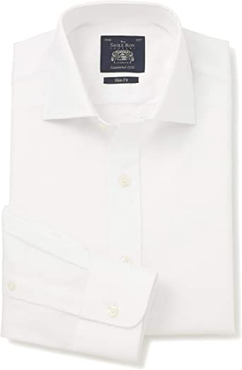 Savile Row Company Mens White Fine Panama Cutaway Collar ...