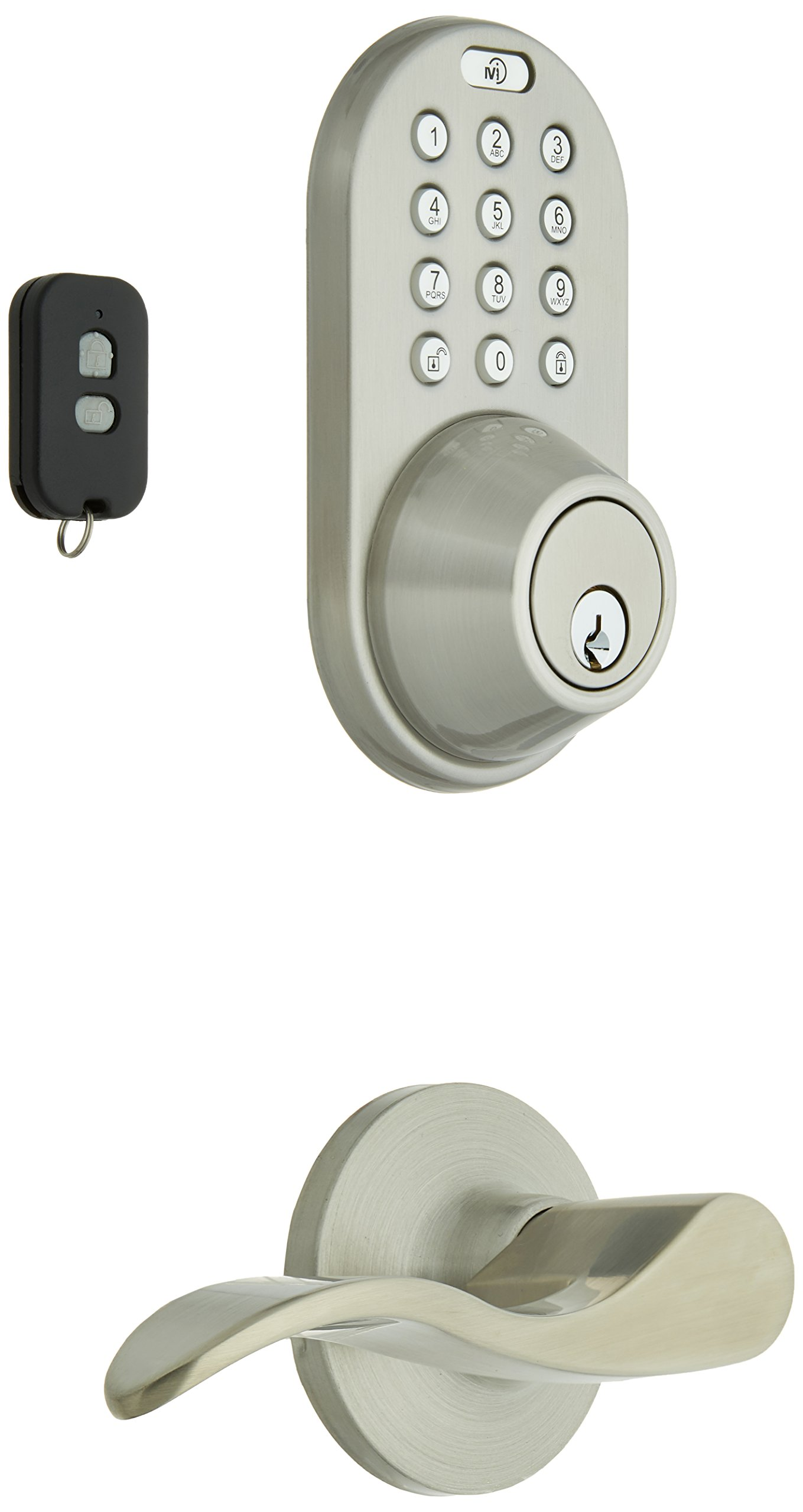 MiLocks XFL-02SN Digital Deadbolt Door Lock and Passage Lever Handle Combo with Keyless Entry via Remote Control and Keypad Code for Exterior Doors, Satin Nickel