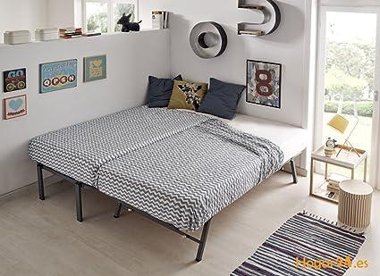 HOGAR24.es-Cama Nido metálica con 2 somieres Lama Ancha Reforzada + Patas + 2 colchones Aloe Vera + 2 Almohadas de Fibra de Regalo-80x190cm: Amazon.es: ...