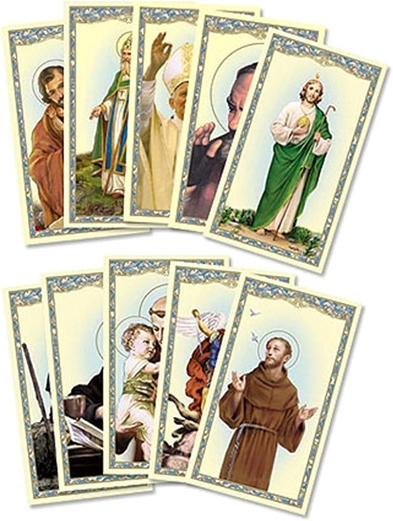 Pack of 54 Assorted Holy Cards with Catholic Saints and Prayers