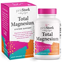 Pink Stork Total Magnesium: Magnesium Capsules + Astragalus for Women to Support Energy Levels, Mood + Calm, Nervous System & Cardiovascular Health, Women-Owned, 60 Capsules