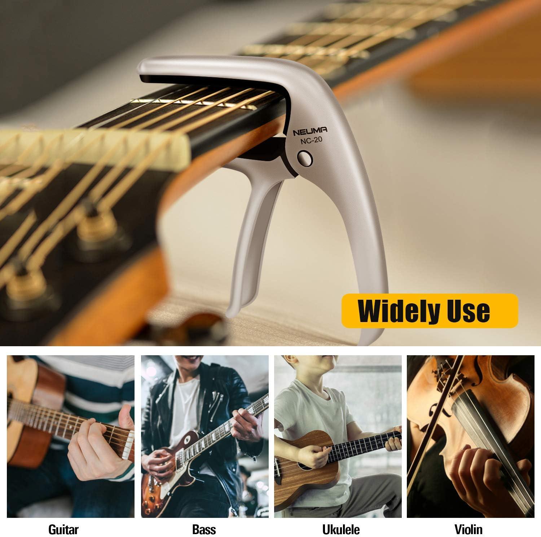 argento chitarra da concerto ukulele One Handed Trigger Capodaster... chitarra elettrica Capotasto capotasto per chitarra acustica chitarra western chitarra acustica basso