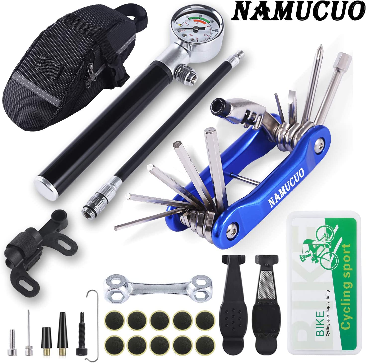 YBEKI NAMUCUO Bike Tyre Repair Tool Kit - Bicycle Tool kit with 210 Psi Mini Pump 10-in-1 Multi-Tool(with Chain Breaker), Tyre Levers &Tire Patch, Bone Wrench, 1 Saddle Bag. 6 Month Warranty : Sports & Outdoors