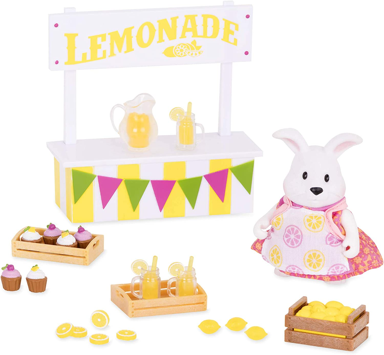 Li'l Woodzeez Lemonade Stand Playset – 25pc Toy Set with Rabbit Figurine, Play Food, and Miniature Accessories – Toys and Gifts for Kids Aged 3 and Up