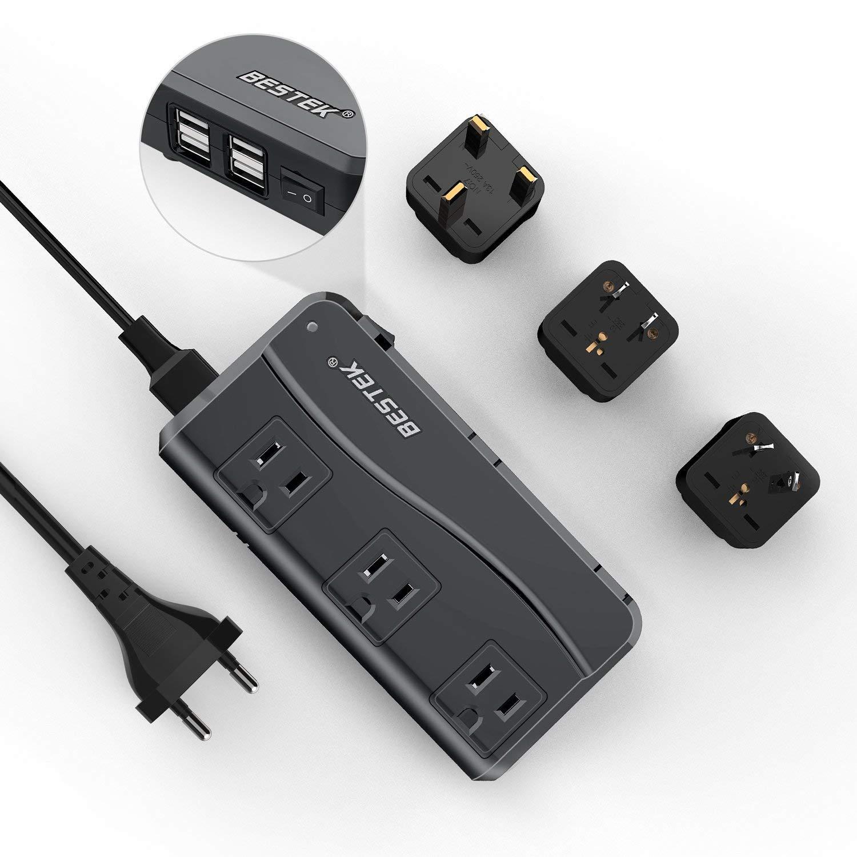 BESTEK Universal Travel Adapter 220V to 110V Voltage Converter with 6A 4-Port USB Charging and UK/AU/US/EU Worldwide Plug Adapter (Black) by BESTEK
