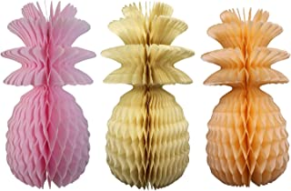 product image for Large Solid Colored 13 Inch Honeycomb Pineapple Party Decoration Kit (Pink, Ivory, Peach)