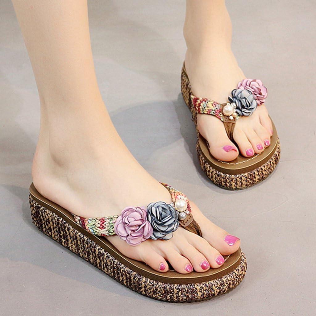 GIY Women Flowers Flip Flops Bohemian Summer Beach Outdoor Anti-Slip Thong Platform Wedge Sandals