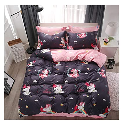 Bed Set Beddingset Duvet Cover Set One Duvet Cover No Comforter One Flat Sheet Two Pillowcases 4pcs New Unicorn Color Number Design Twin Set 59x79 for Kids Sheet Sets Twin, Colorful Number, Pink