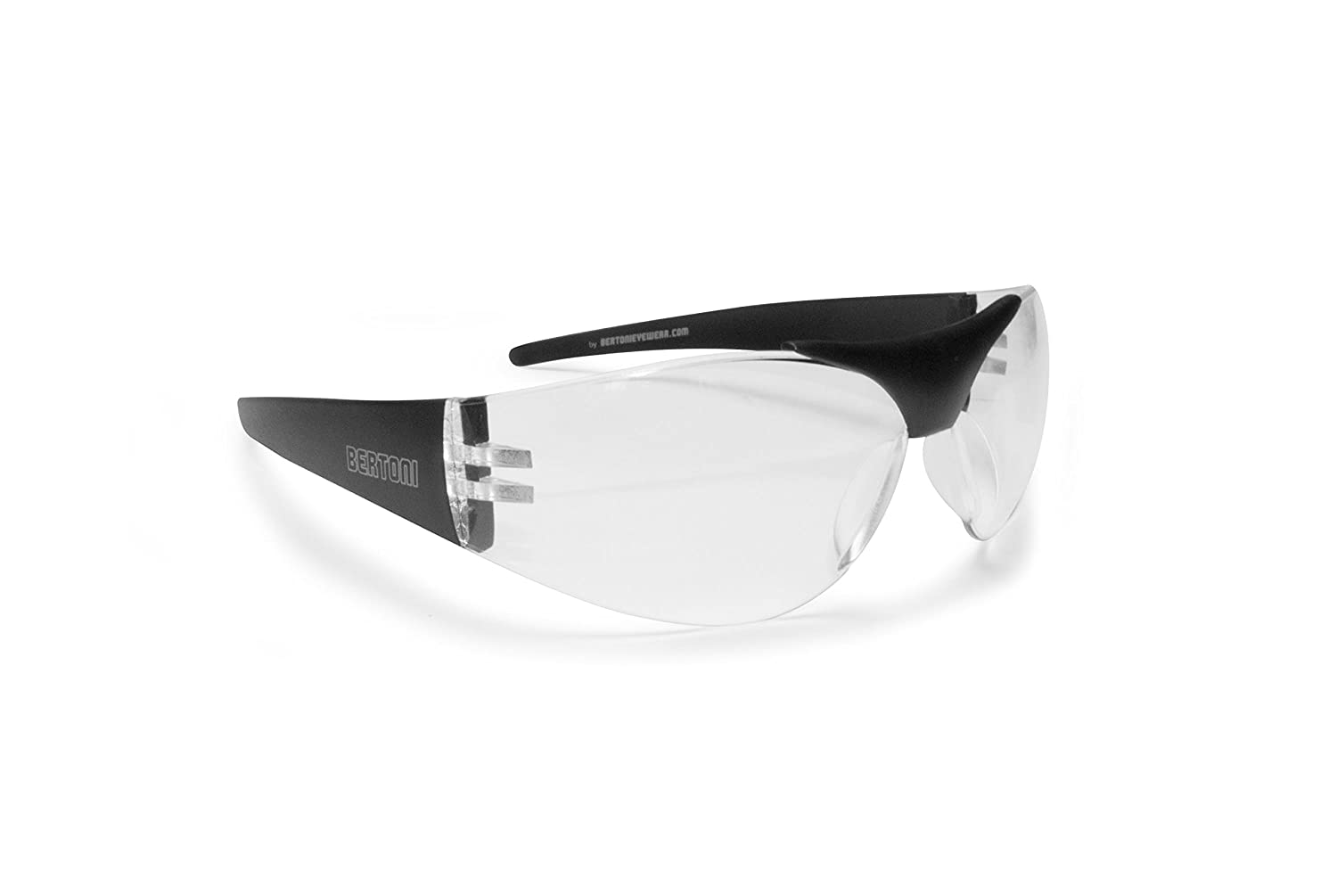 Bertoni Motorcycle Glasses - Windstopper Antifog Anti-UV Lens - Straight Arms for Helmets - AF153 Italy (Dark Lens) Bertoni iwear Italy AF153R1