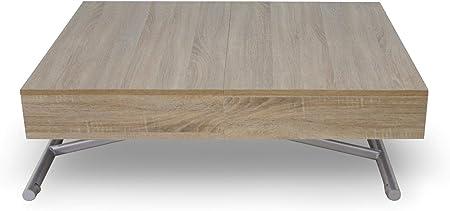 Menzzo Table Basse Relevable Extensible En Bois Table Escamotable