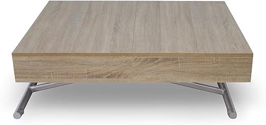 Menzzo Table Basse Relevable Extensible En Bois Table