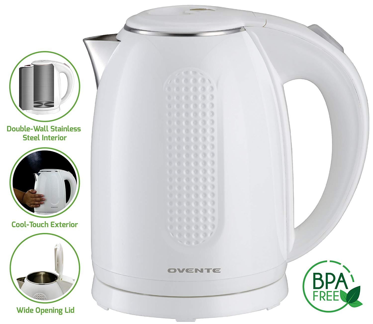 Ovente 1.7L Electric Kettle, Double Wall 304 Stainless Steel Water Boiler, Auto Shut-Off and Boil-Dry Protection, Stay-Cool Exterior, BPA-Free, Cordless, White (KD64W)