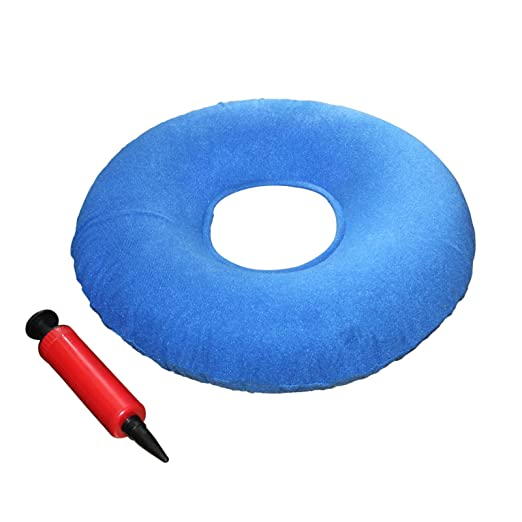 "Kovira Inflatable 15"" Coccyx Donut Cushion Pillow/Doughnut Pillow with Pump & Travel Bag - Lumbar Support for Hemorrhoids, Pregnancy, Tailbone Pain, Prostate & Sores - Use in the Home, Car & Office"