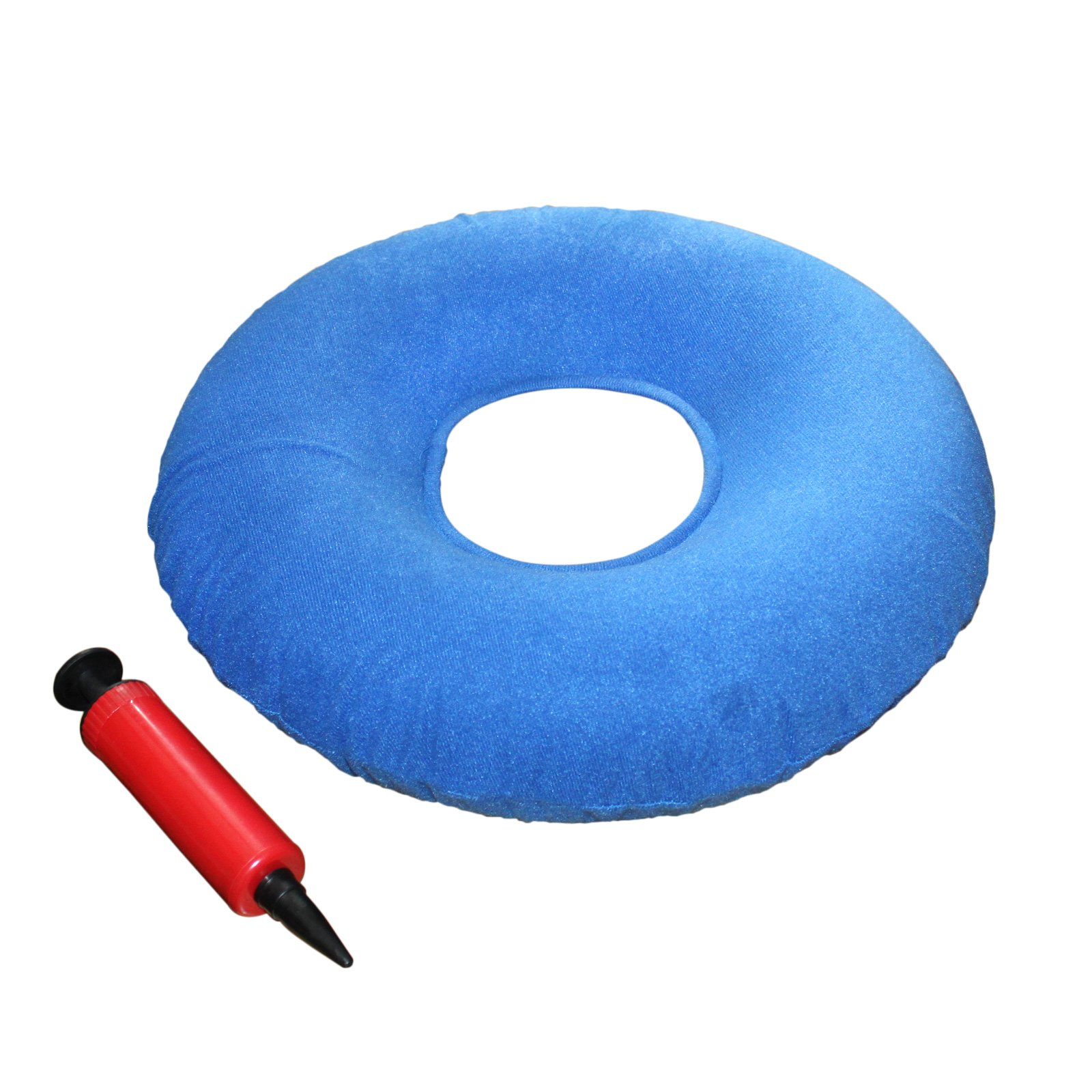 Kovira Inflatable 15'' Coccyx Donut Cushion Pillow/Doughnut Pillow with Pump & Travel Bag - Lumbar Support for Hemorrhoids, Pregnancy, Tailbone Pain, Prostate & Sores - Use in the Home, Car & Office by Kovira