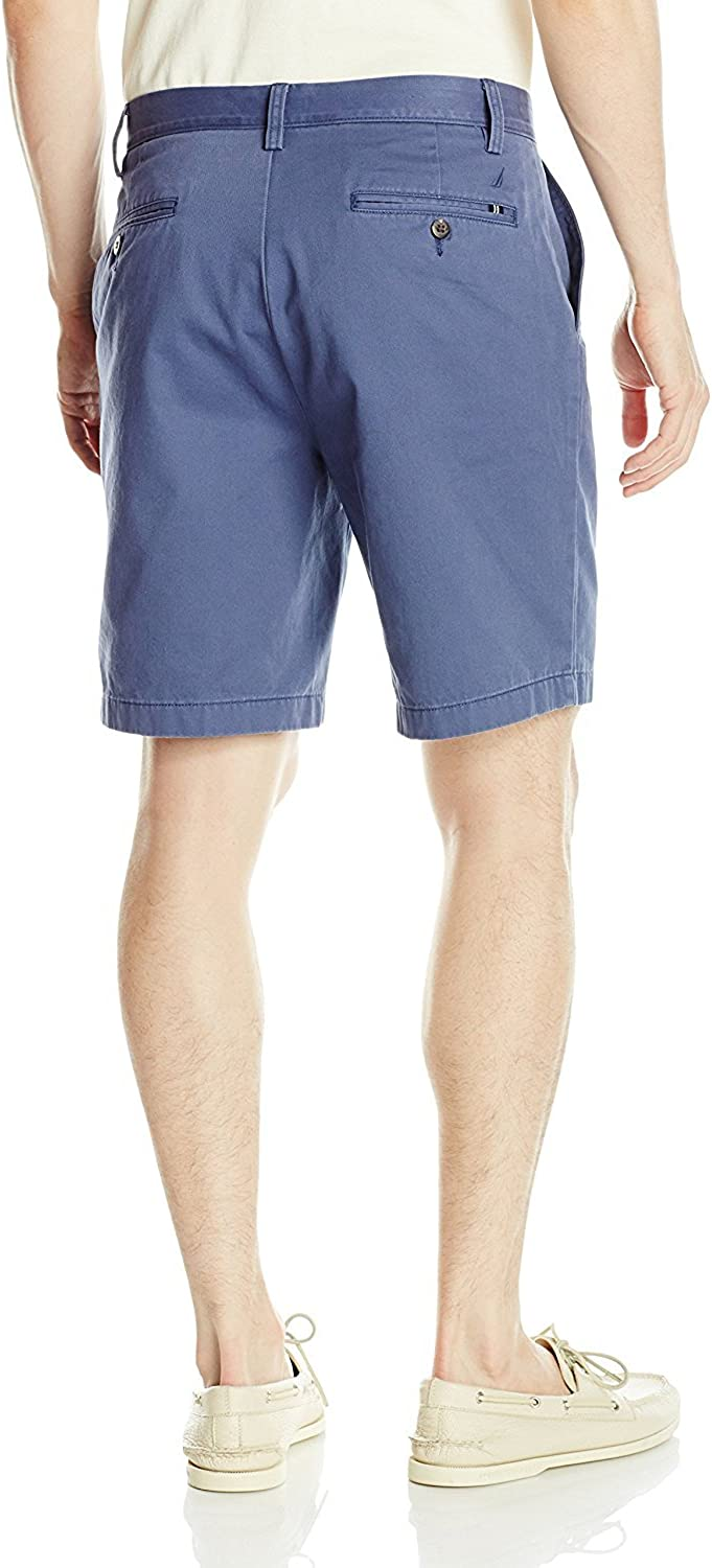 Nautica Men's Updated Cotton Twill Flat Front Chino Short Casual Blue Indigo