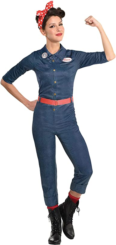 Party City Rosie The Riveter Halloween Costume for Women Includes Jumpsuit, Belt, and Scarf