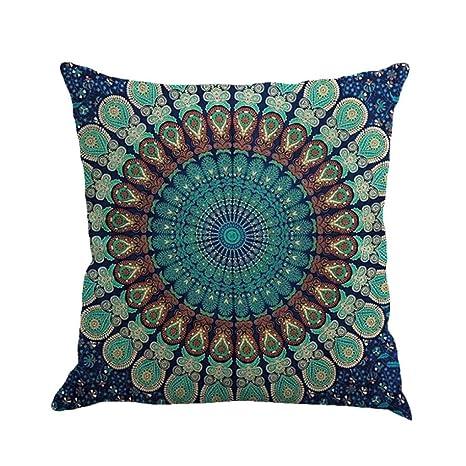 Winwintom Geometría pintura lino funda de Cojin almohada caso sofa (Color C)