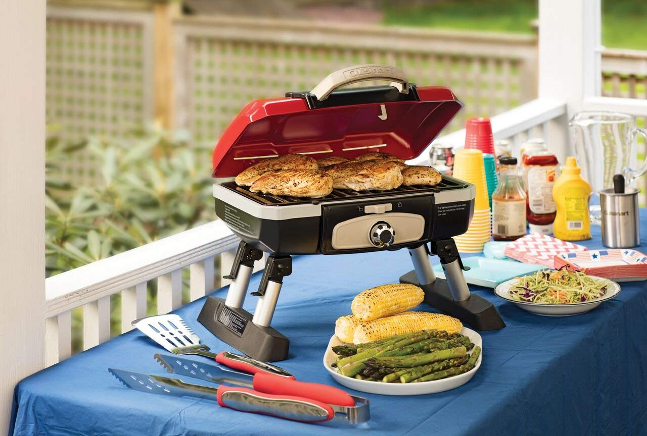 Cuisinart CGG-180T Petit Gourmet Portable Tabletop Gas Grill, Red (Renewed) by Cuisinart (Image #4)