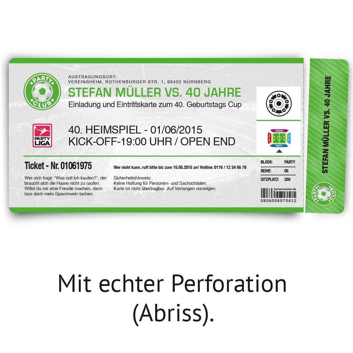 Einladungskarten zum Geburtstag (60 (60 (60 Stück) als Fußballticket Karte Fussball Einladung Ticket in Grün B00NIPQPZ8 | Attraktives Aussehen  | Jeder beschriebene Artikel ist verfügbar  | Hochwertige Materialien  36165f