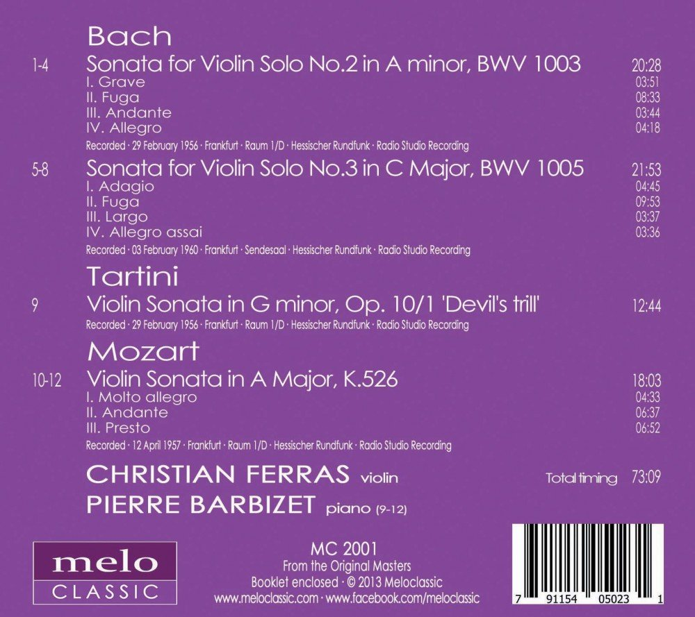 Historical Recording Christian Ferras Plays Bach, Tartini and Mozart By MELOCLASSIC by Meloclassic