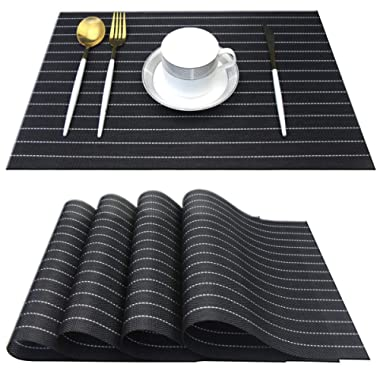 Bright Dream Placemats for Dining Table Plastic Washable Non Slip Dinner Table Mats 12x18 inches Set of 4(Black)