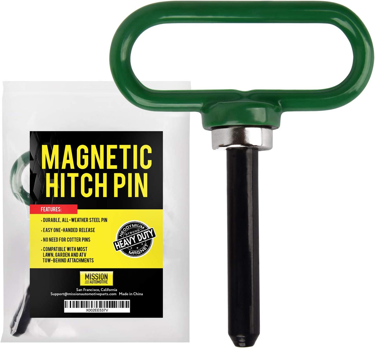 Magnetic Hitch Pin - Lawn Mower Trailer Hitch Pins - Ultra Strong Neodymium Magnet Trailer Gate Pin for Simple One Handed Hook On & Off - Securely Hitch Lawn & Tow Behind Attachments