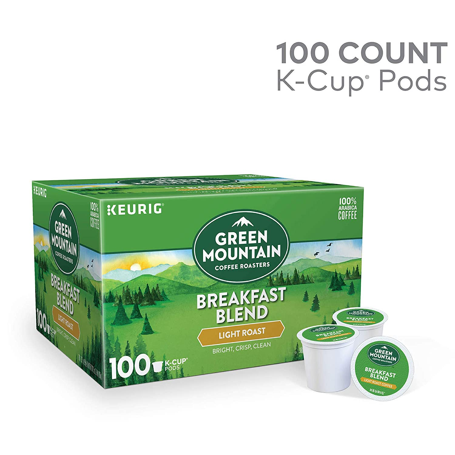 Green Mountain Coffee Roasters Breakfast Blend Light Roast Coffee Single-Serve Pods, 100 Count