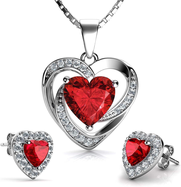 DEPHINI - Juego de collar y pendientes de corazón rojo - Plata de ley 925 - Piedra de nacimiento de Siam claro adornado con cristales - Colgante de mujer