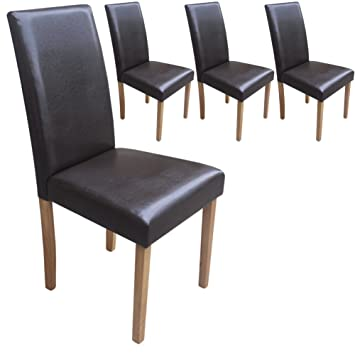 Your Price Furniture.com Set Of 4 Faux Leather Torino Dining Chairs Brown  Padded Seat