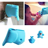 Bath Spout Cover - Tub Faucet Cover for Baby - Bathtub Faucet Extender Protector For Baby - Silicone Soft Spout Cover Baby Blue Elephant - Child Bathroom Cute Accessories - Free Baby Bathtub Toy