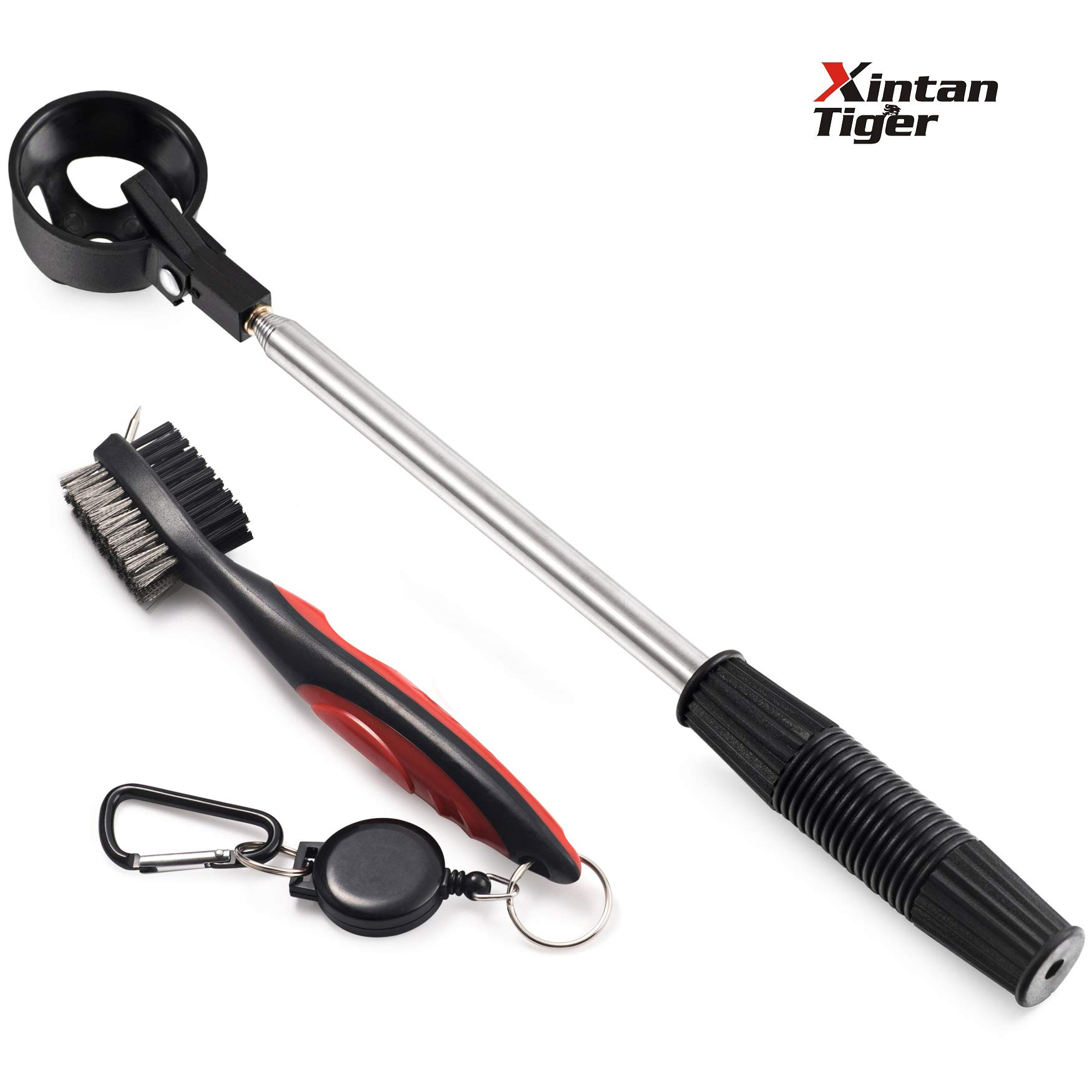 Xintan Tiger Golf Ball Retriever & Golf Club Cleaning Brush with Groove Cleaner Retractable Zip-line Carabiner