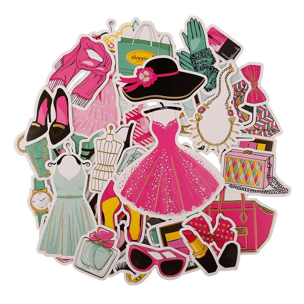 FaCraft Scrapbooking Supplies Ephemera Vintage Scrapbook Embellishments Die-Cut Pack,50 Pieces Assorted Colors/Designs Elements Fit for Kinds of Themes