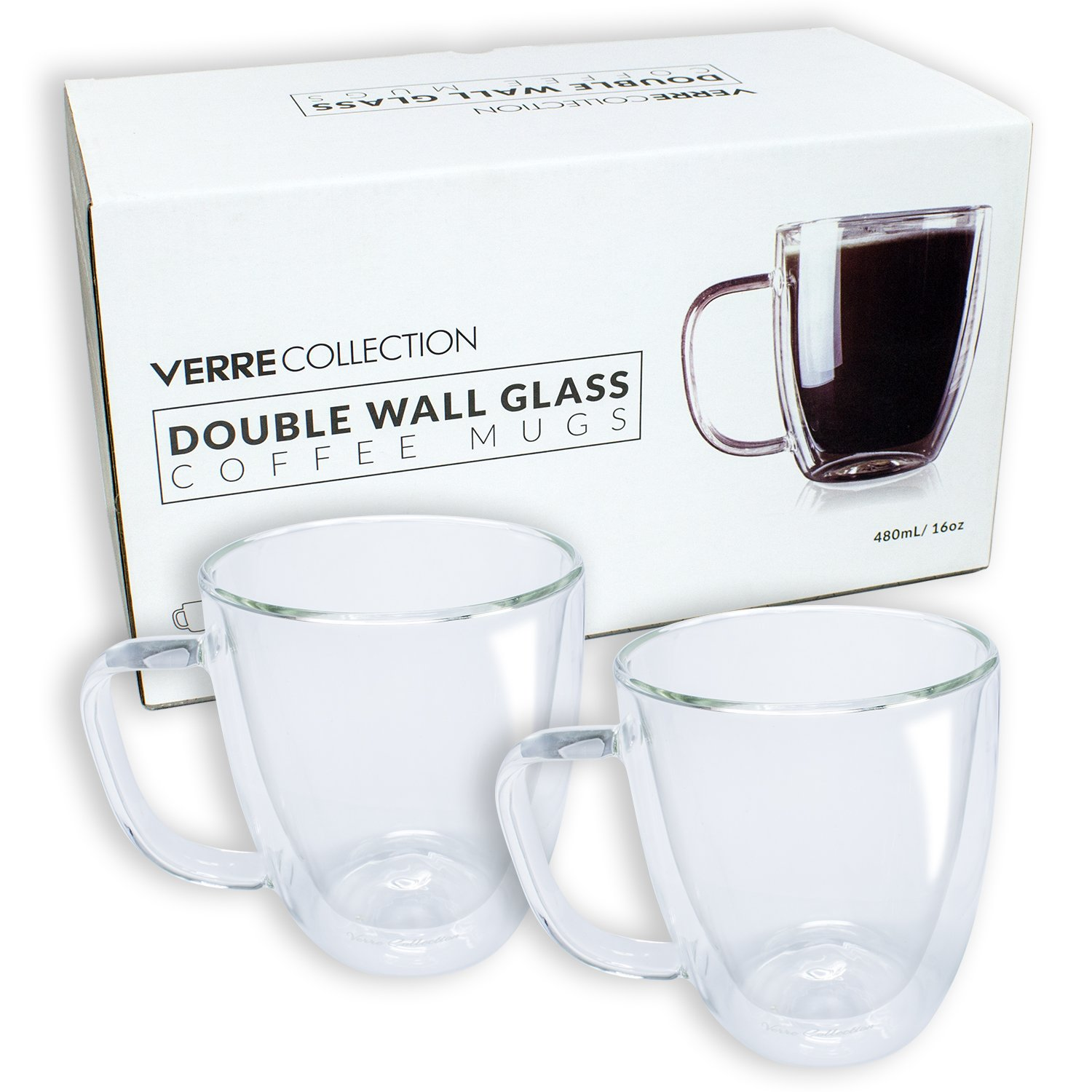 Double Wall Glass Espresso Latte Cappuccino Mug, Coffee Cup | Set of 2 (2, 10.5 oz) Verre Collection