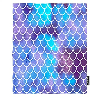 Moslion Mermaid Blanket Retro Ocean Sea Fish Scale Mermaid Sequin Throw Blanket Flannel Home Decorative Soft Cozy Blankets 40x50 Inch for Baby Kids Pet Aqua Blue Purple
