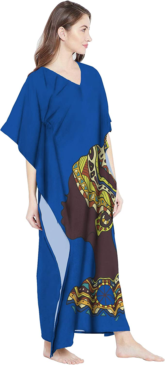 RADANYA Women Cotton Bohemian African Dashiki Print Ethnic Caftan Kaftan Royal Blue