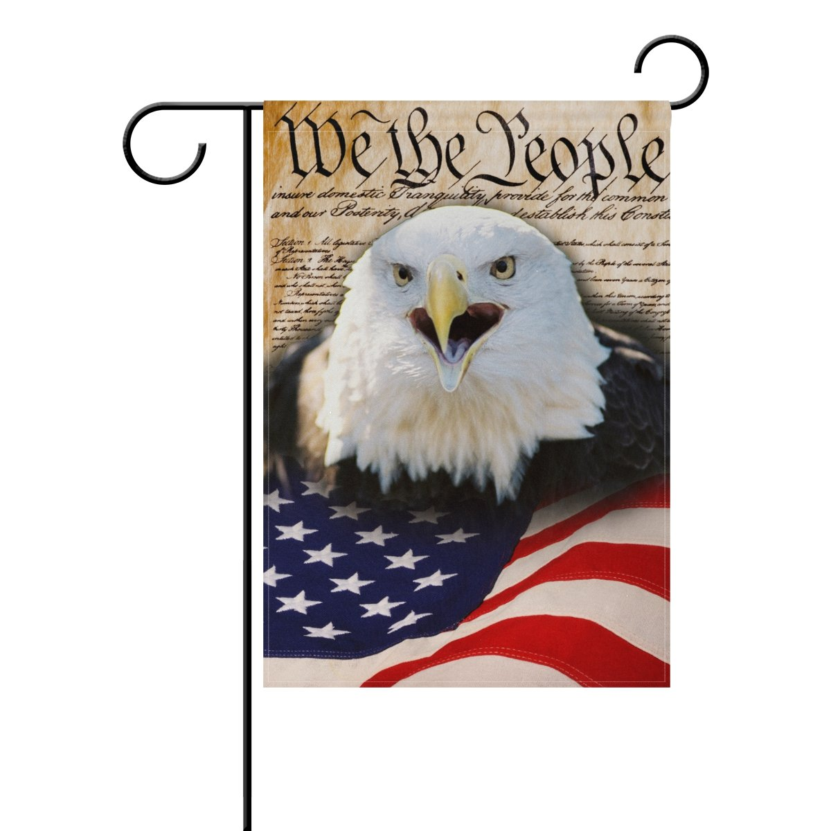 Naanle 4th of July Long Polyester Garden Flag 28 x 40 Inches Double Sided, American Flag Bald Eagle Decorative House Flag for Wedding Party Home Decor