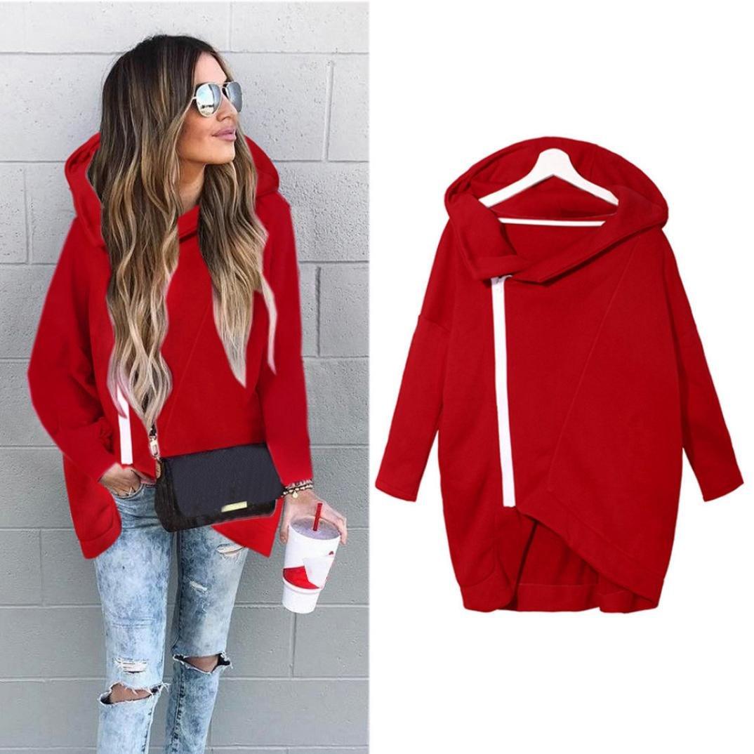 Palarn Women Zip Hoody Sweatshirt Ladies Hooded Jacket Pullover Hoodies Top Blouse (XL, Red)