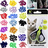 VICTHY 100pcs Cat Nail Caps with Clipper Set, Pet Cat Nail Clipper Cat Soft Claws Nail Covers for Kitten Cat Claws with Adhesive and Applicators Extra Small/Kitten