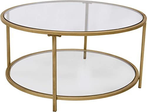Amazon Brand Ravenna Home Parker Round Shelf Storage Coffee Table
