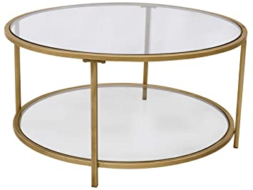 Round Glass Coffee Table With Storage 3